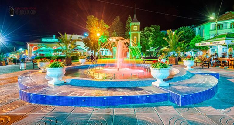 Часовниковата кула и фонтана